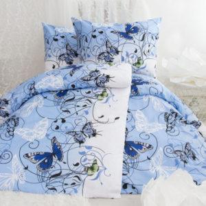 XPOSE ® Bavlněné povlečení na dvě lůžka KAROLÍNA - modrá 140x200