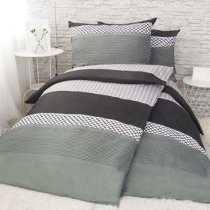 XPOSE ® Bavlněné povlečení na dvě lůžka VLADIMÍRA - černá/šedá 140x200
