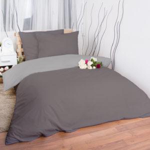 XPOSE ® Francouzské bavlněné povlečení MICHAELA DUO - tmavě šedá/světle šedá 200x220