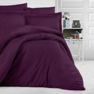 XPOSE ® Saténové povlečení PRUHY - fialová 140x200