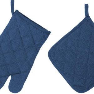 Set tmavě modré chňapky a rukavice Unimasa