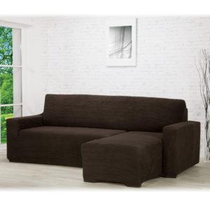 Super strečové potahy GLAMOUR hnědé sedačka s otomanem vpravo (š. 210 - 270 cm)